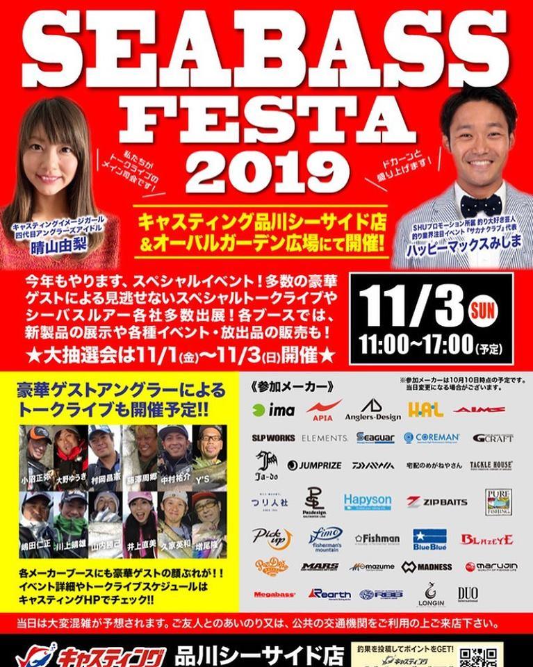 11月3日(日)キャスティング 品川シーバスフェスタ2019開催!